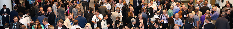 Group of people attending AUVSI XPONENTIAL who are networking
